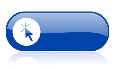 click here blue web glossy icon Stock Photo - 18222114