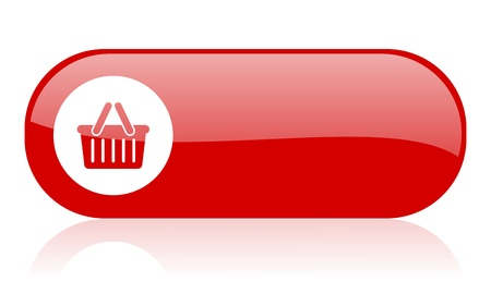 shopping cart red web glossy icon Stock Photo - 18361923