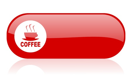 coffee red web glossy icon Stock Photo - 18361994