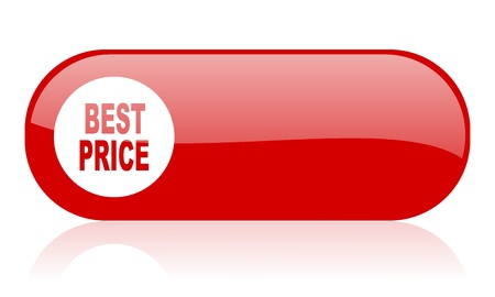 best price red web glossy icon Stock Photo - 18362005