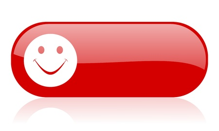 smile red web glossy icon Stock Photo - 18361693