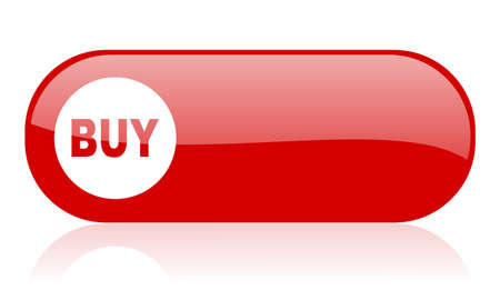 buy red web glossy icon Stock Photo - 18361707