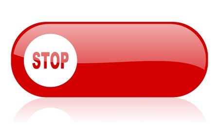stop red web glossy icon Stock Photo - 18361773