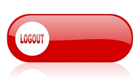 logout red web glossy icon   photo