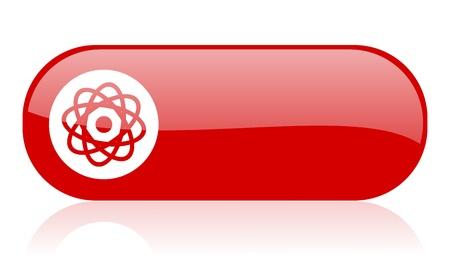 atom red web glossy icon Stock Photo - 18362156