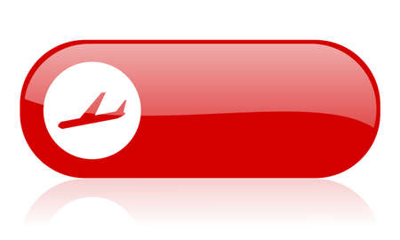 airplane red web glossy icon   photo