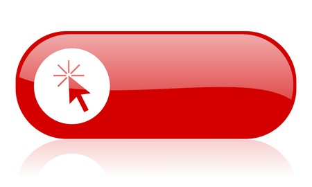 click here red web glossy icon Stock Photo - 18361738