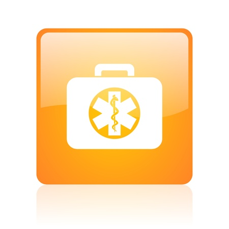 rescue kit orange square glossy web icon