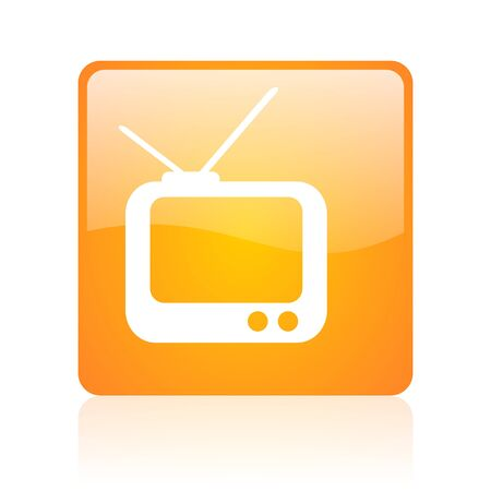 tv orange square glossy web icon  photo