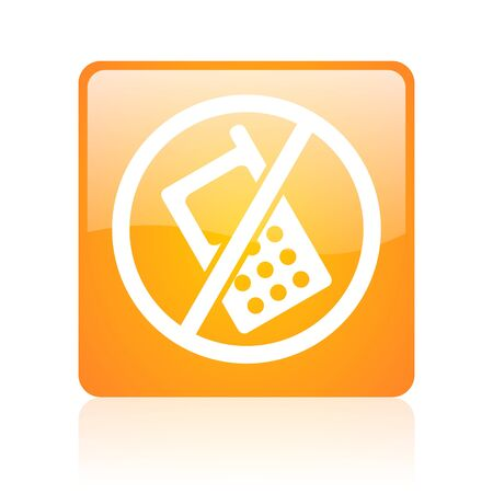 no phones orange square glossy web icon  photo