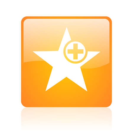 star orange square glossy web icon Stock Photo - 18361138