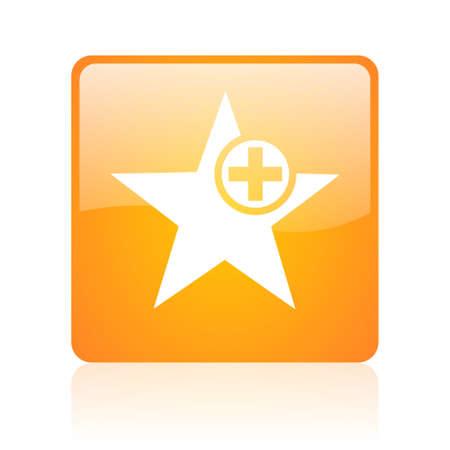 star orange square glossy web icon Stock Photo - 18361138