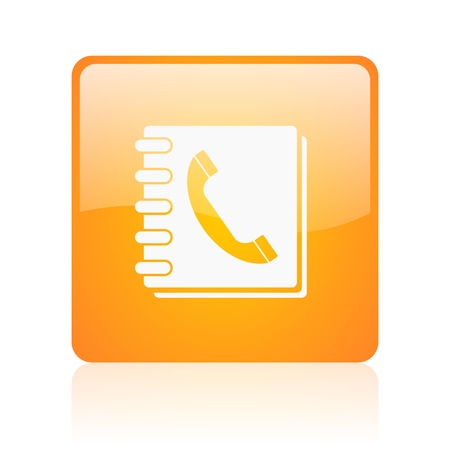 phonebook orange square glossy web icon  Zdjęcie Seryjne