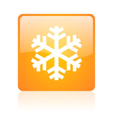 snowflake orange square glossy web icon