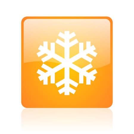 snowflake orange square glossy web icon Stock Photo - 18361535