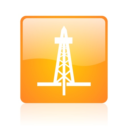 drilling orange square glossy web icon  photo