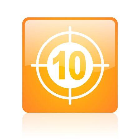 target orange square glossy web icon Stock Photo - 18361520