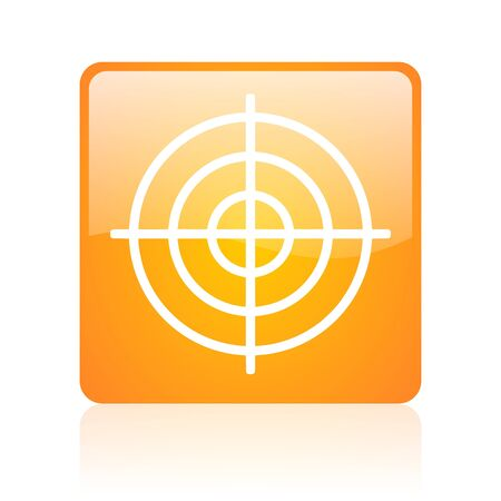 target orange square glossy web icon Stock Photo - 18361984