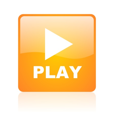 play orange square glossy web icon