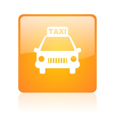 taxi orange square glossy web icon  photo