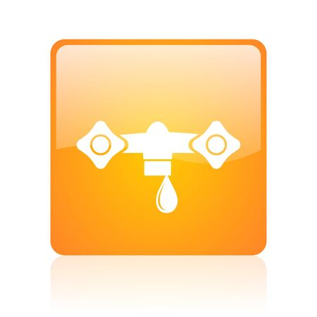 water orange square glossy web icon  photo