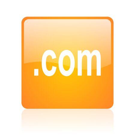 com orange square glossy web icon Stock Photo - 18361085