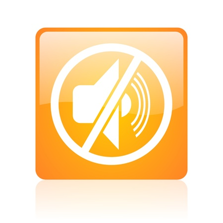 mute orange square glossy web icon  photo