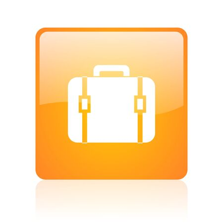 baggage orange square glossy web icon  photo