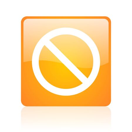 access denied orange square glossy web icon