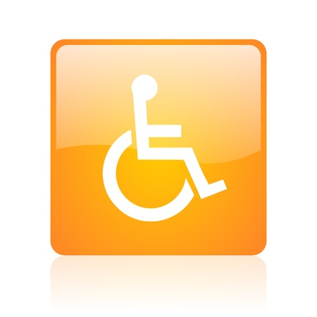 accessibility orange square glossy web icon  photo