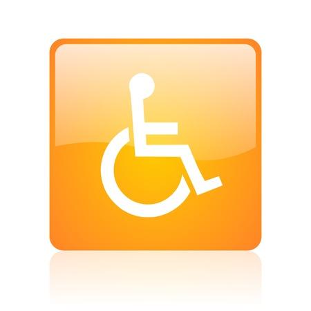 accessibility: accessibility orange square glossy web icon