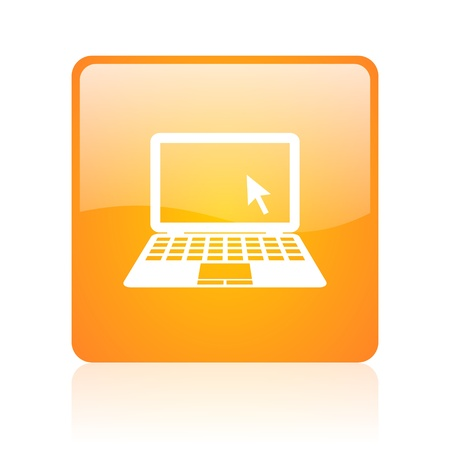 notebook orange square glossy web icon Stock Photo - 18361421