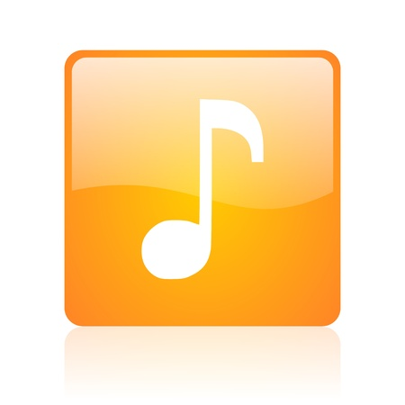 music orange square glossy web icon  photo