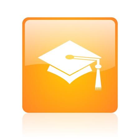 graduation orange square glossy web icon Stock Photo - 18361233