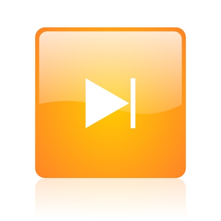 dvd player: next orange square glossy web icon