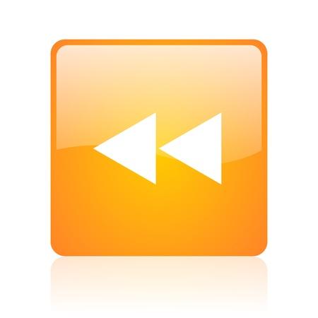 scroll orange square glossy web icon  photo