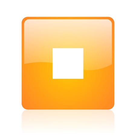 stop orange square glossy web icon