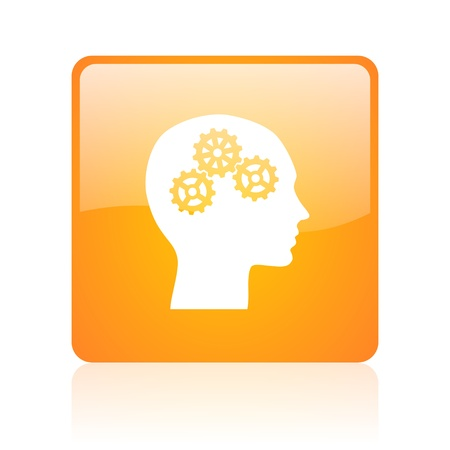 head orange square glossy web icon  photo