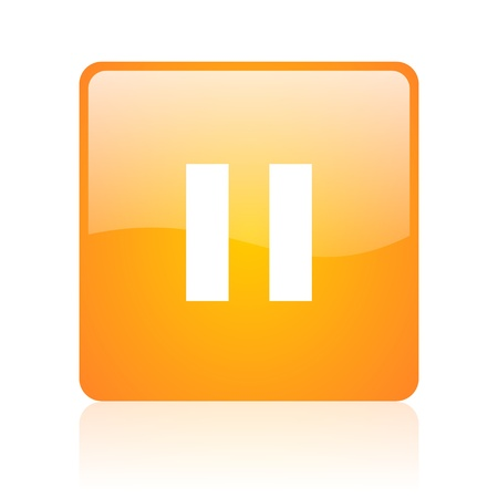 pause orange square glossy web icon