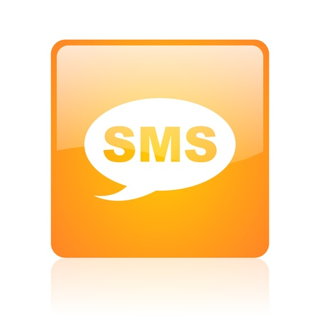 sms orange square glossy web icon  photo