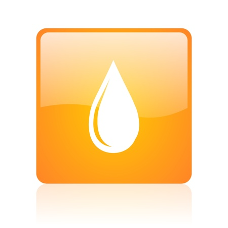 water drop orange square glossy web icon  photo