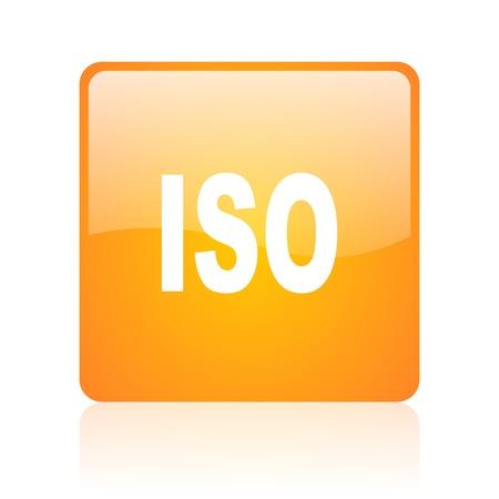 iso orange square glossy web icon  photo