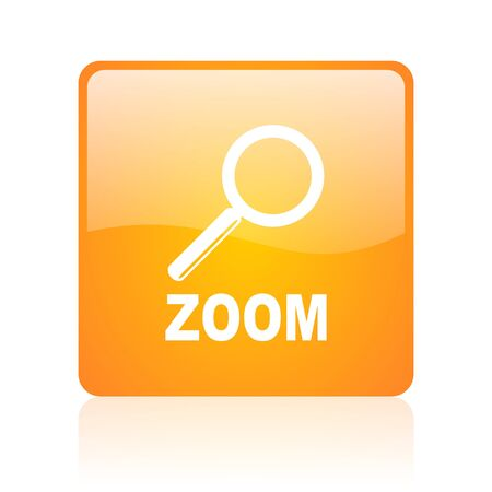 zoom orange square glossy web icon  photo