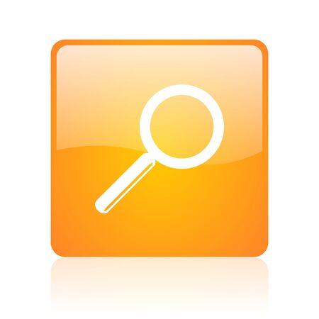 search orange square glossy web icon Stock Photo - 18361180