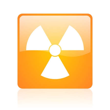 radiation orange square glossy web icon