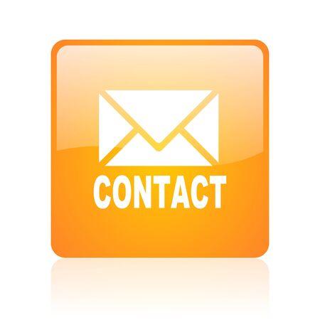 contact orange square glossy web icon  photo