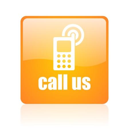 call us: call us orange square glossy web icon