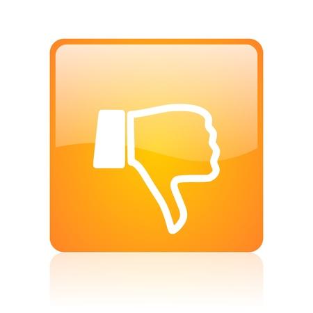 thumb down orange square glossy web icon Stock Photo - 18361198