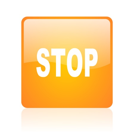 stop orange square glossy web icon Stock Photo - 18361045