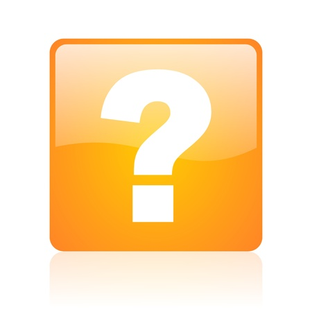 question mark orange square glossy web icon